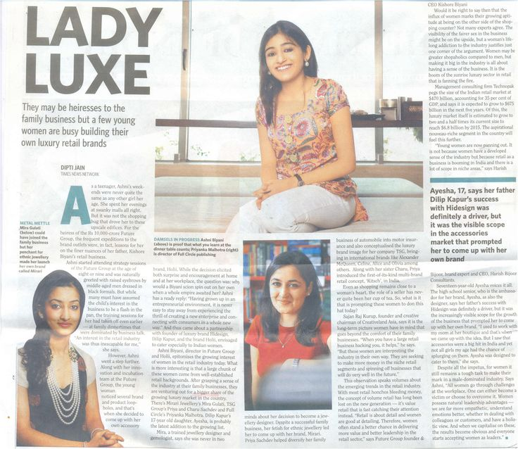 Mirari's Principal designer, Mira Gulati featured on Times of India , Crest :)