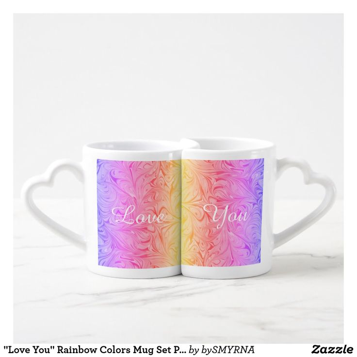 """Love You"" Rainbow Colors Mug Set Personalize D#1"