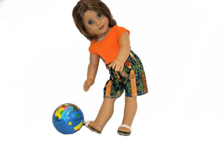 Midriff T Shirt, Hawaiian Surfer Shorts and Sandals  for 18 Inch Dolls such as American Girl, Our Generation, Madam Alexander by PiperRoseBoutique on Etsy