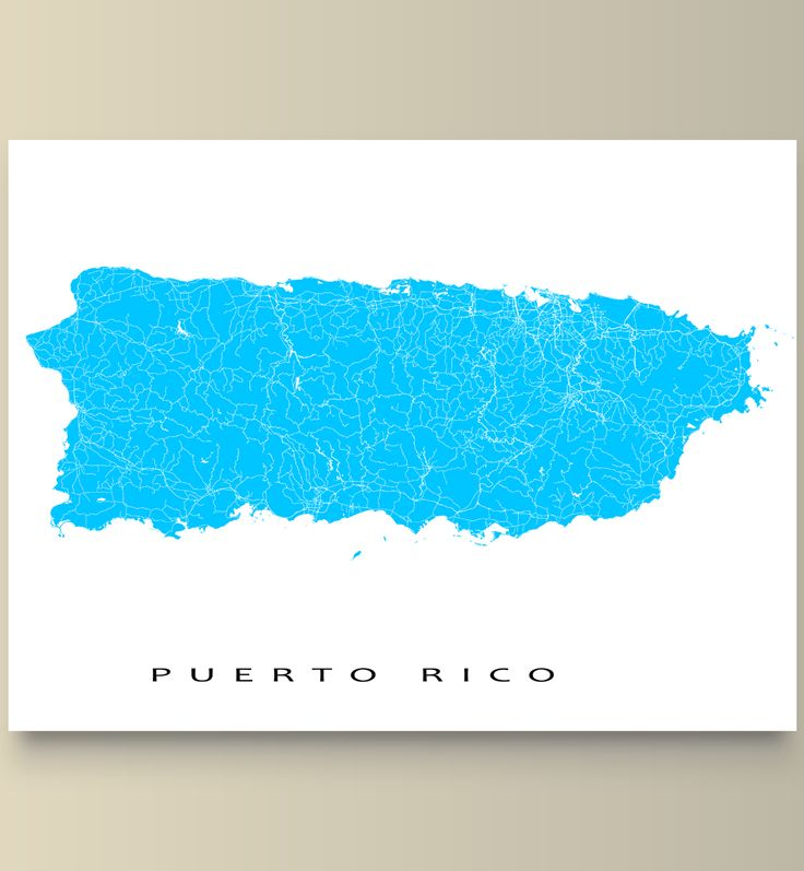 Puerto Rico in the #Caribbean Sea  Modern graphic and eye-catching. #PuertoRico map print with a white street network design. Perfect for your travel wall or to add to your existing #HomeDecor.