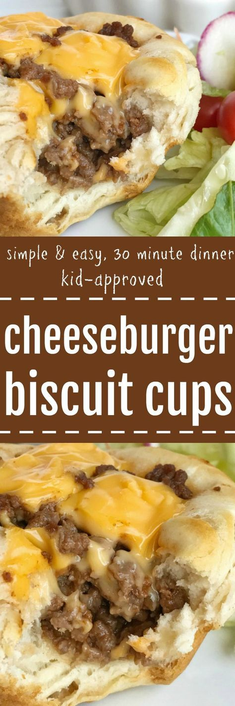 Cheeseburger Biscuit Cups - An easy, simple, kid-approved dinner recipe that are perfect for back-to-school. Ground beef in a flaky biscuit with a cheeseburger center. 30 minute meal that is so simple to prepare. Everyone will LOVE these | togetherasfamil