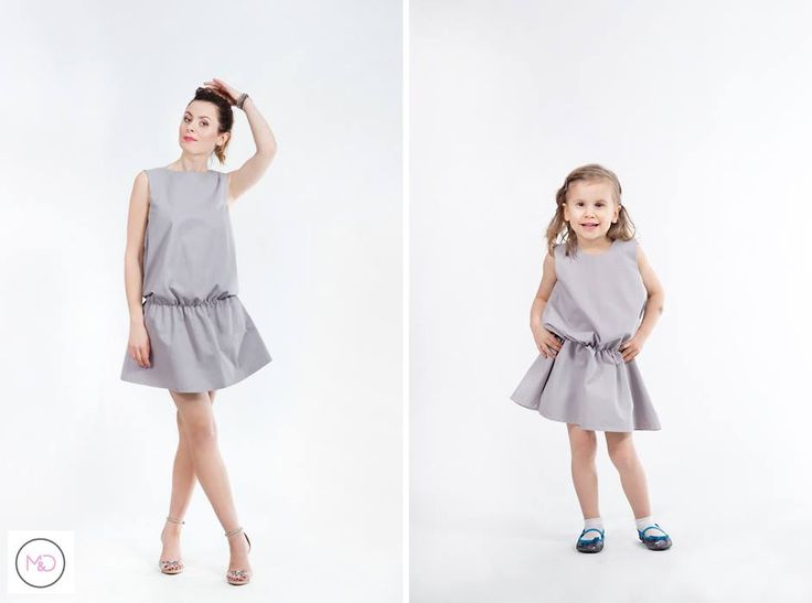 Matching dresses for mum and daughter in grey. Price for a set: 170 EUR