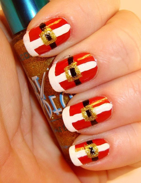 149 best gorgeous christmas nail art images on pinterest santa claus nail art white and red prinsesfo Images