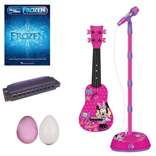 Minnie Mouse Mini Guitar Pack w/Frozen Book Rhythm Shakers & Harmonica @ niftywarehouse.com #NiftyWarehouse #Frozen #FrozenMovie #Animated #Movies #Kids
