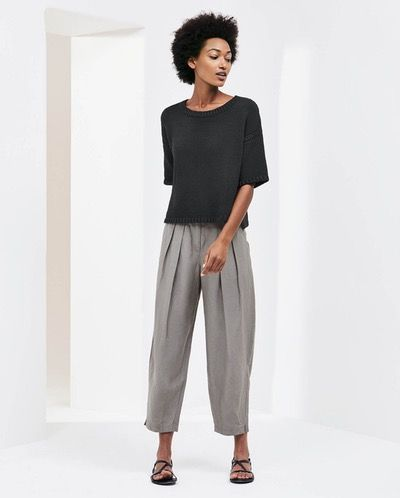 Poetry - Silk linen trousers - These lightweight, silk and linen trousers are cut with a relaxed, wide leg that tapers slightly to the ankle. With deep pleats at the waistband, two angled side pockets and a wide, flat waistband. 53% silk 47% linen, Trim 100% cotton