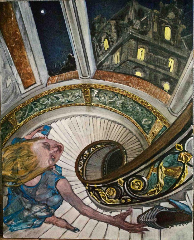 Una Cenerentola carnale, una scarpa-scheletro, una scala-precipizio, le finestre del Louvre… Un vortice di allegorie per ricordare che la vita fugge ma l'arte rimane. Enrico Robusti, Cenerentola. Olio su tela, 150x120 cm, 2016.