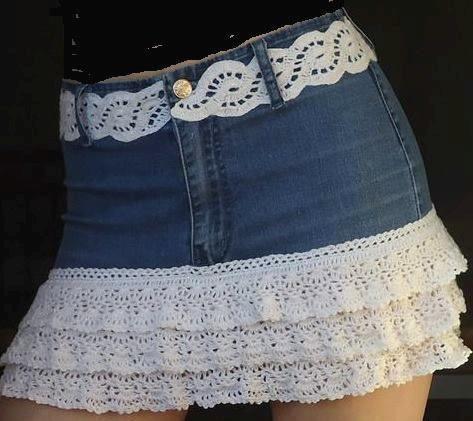 croche com receitas customização saia calça jeans com barrados e cintos em croche