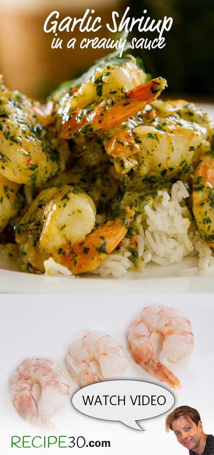 Garlic Prawns in a Cream Sauce With, chili, parsley and white wine.