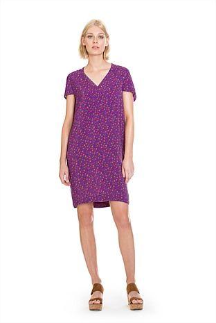 Short Sleeve Print Wedge Dress