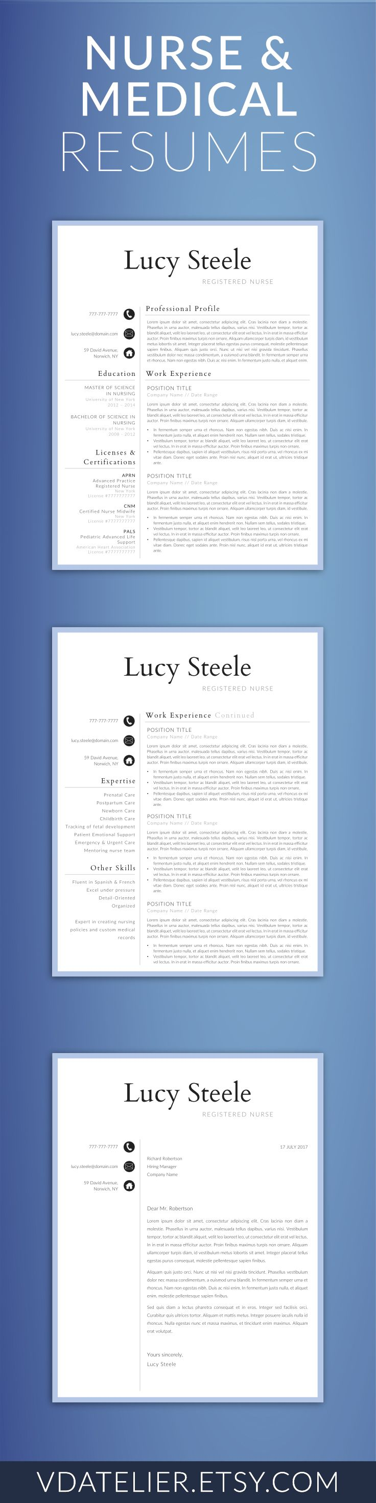 Nurse Resume Template for Word, Doctor Resume Template | Nurse CV Template | RN Resume, Medical Resume | US Letter & A4 | 1,2 Page Resume