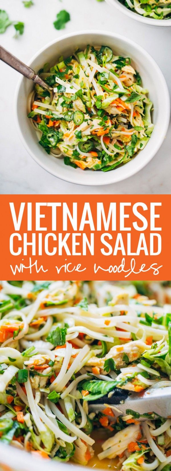 Vietnamese Chicken Salad with Rice Noodles made with chicken, cabbage ...