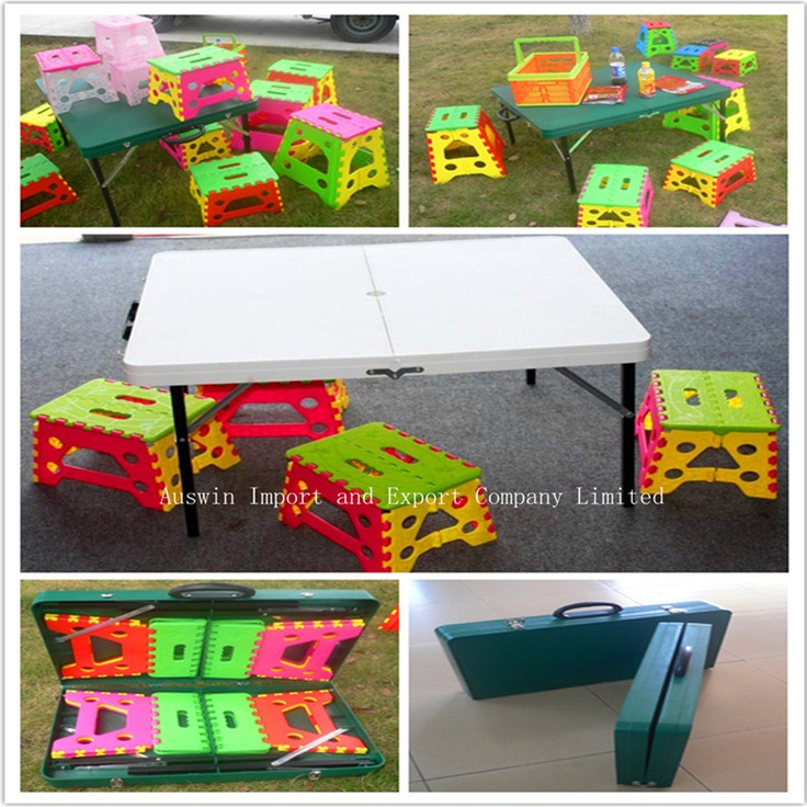 Portable Suitcase Folding Tables And Chairs To Be Used As The Craft Tables  For Kids And