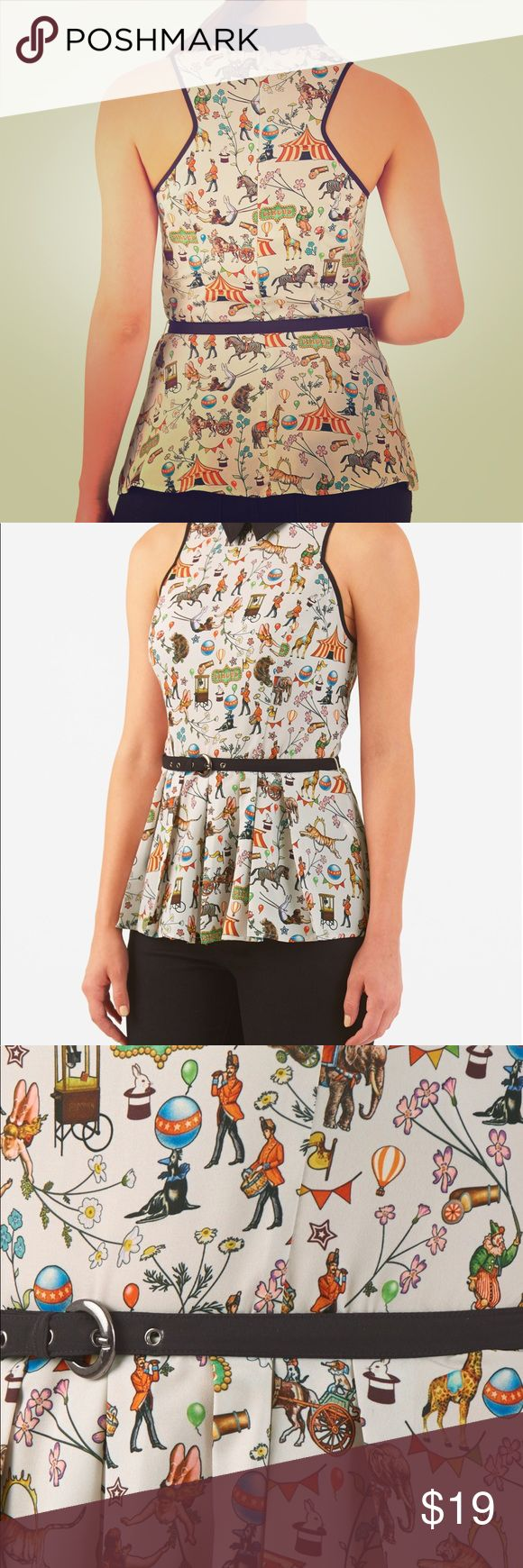 eShakti Circus Print Peplum Crepe Top - never worn Artfully tailored bodice with cut-away shoulders and a racerback. Colorful, feminine, vintage circus print top cinched in at the seamed waist with a removable contrast fabric belt.  Back zip with hook-and-eye closure. Contrast collar. Sleeveless. Pleated peplum waist. Hip length. Polyester, woven crepe, digital print, easy drape, no stretch, light-weight. Machine wash cold. eshakti Tops Blouses