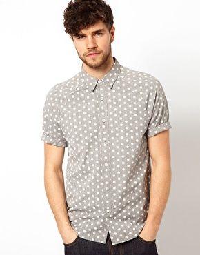 ASOS Chambray Shirt With Polka Dots $45.30
