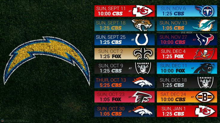 Chargers 2016 Schedule