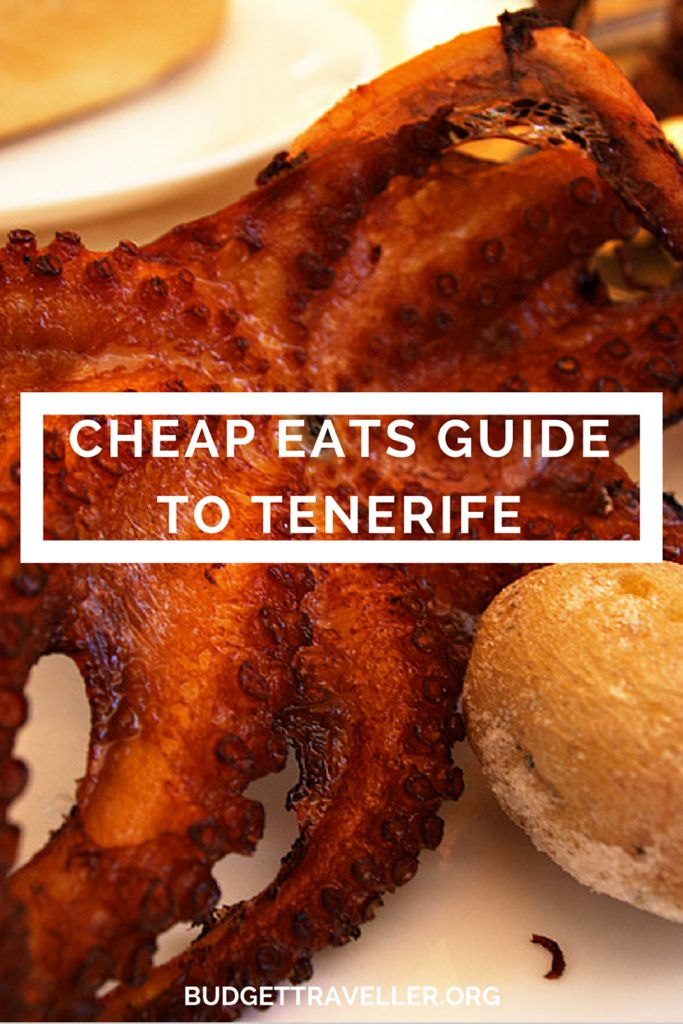 Cheap eats guide to Tenerife. Warm sunshine all year round and pints of lager for a euro- what more could you want? Perhaps some cheap eats? Outside of the resorts, where the Canarios live, you can eat very cheaply and extremely well by going local. Discover the most popular but hidden places to enjoy cheap eats in Tenerife and sample octopus, hake fillets with papas arrugadas, garlic chicken and more on a budget.