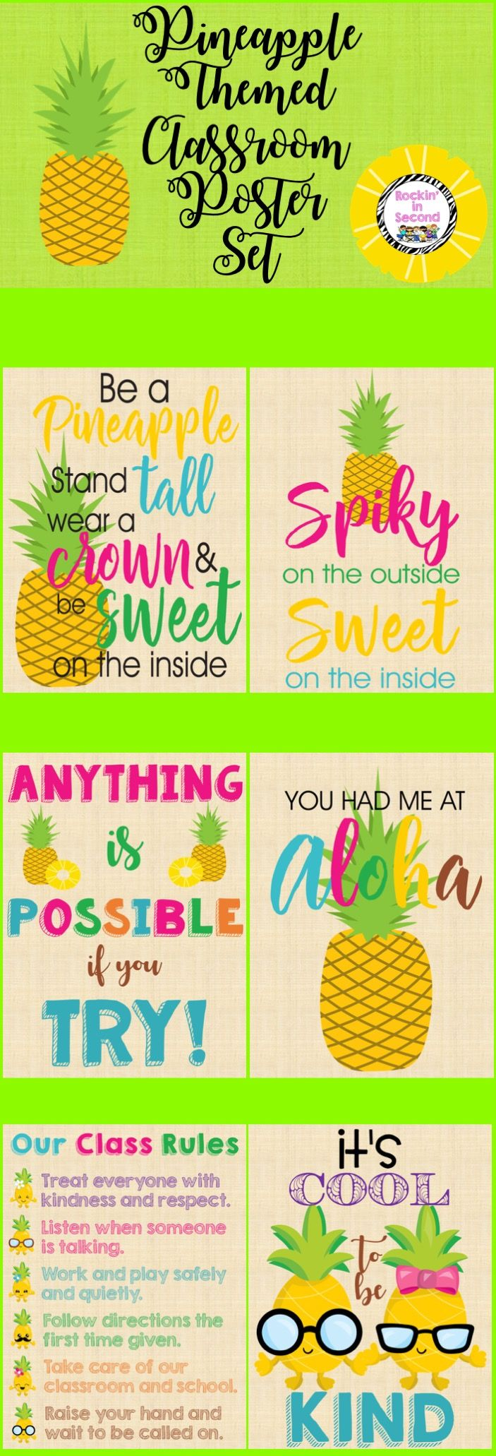 "This poster set is ""Sweet"" as can be. Your kiddos will love the sayings and motivation. What better way to post your classroom rules and character traits. There are 6 posters included."