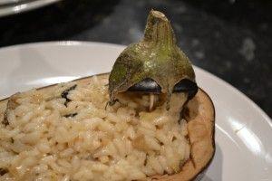 Melanzane ripiene con risotto al taleggio e menta.  http://blog.giallozafferano.it/ilcassettodeisognisegret/melanzane-ripiene-con-risotto-al-taleggio-e-menta/