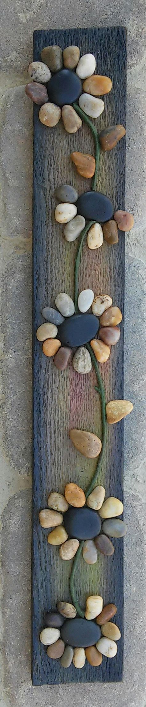 Pebble Art / Rock Art string of flowers (all natural materials incl. reclaimed wood, pebbles, twigs) approx 24x4.  FREE SHIPPING