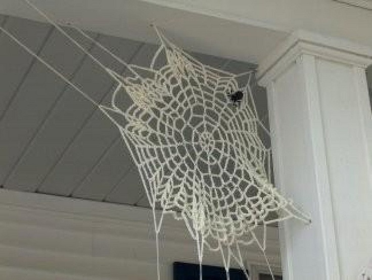 Crocheted spider web: so cool. Makes me want to crochet some of these.
