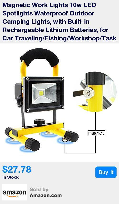 10w LED Rechargeable work light, bright enough * Strong magnetic base: stick to steel surface firmly, hands-free flexibility during work * IP65 Waterproof LED work light, output brightness up to 400Lumens * Free Rotating & durable Handle Hook - great for outdoor/indoor use,such as Job Site Work lighting/Camping/Fishing/Night Driving/Car Repair/Emergency situation * Rechargeable built-in battery(4800mAH); with wall charger & car charger