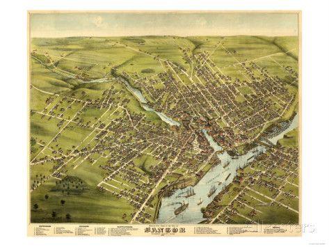 Bangor, Maine - Panoramic Map Art par Lantern Press sur AllPosters.fr