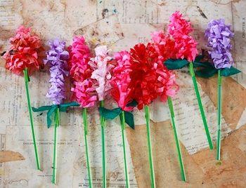 tissue paper hyacinths tutorial found at Aunt Peaches