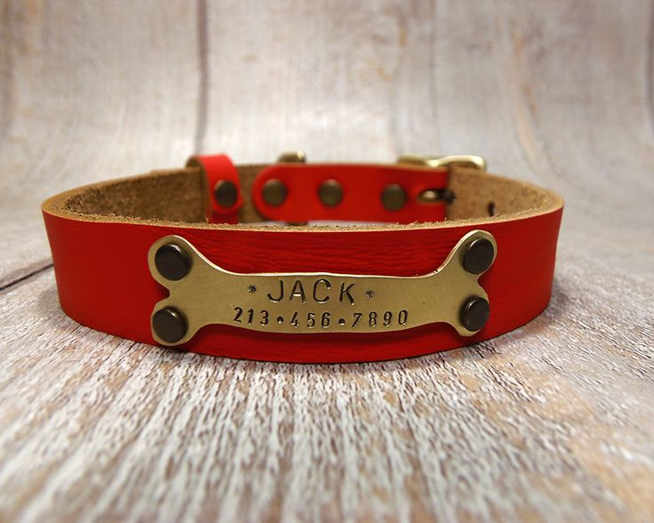 Red Dog Collar, Handmade Collar, Personalized Dog Collar, Dog Collar Leather, Leather Collar, Leather Dog Collar, Dog Collar Personalized, by VacForPets on Etsy