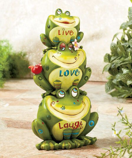 Live Love Laugh Fun Frog Garden Statue Yard Outdoor Decor