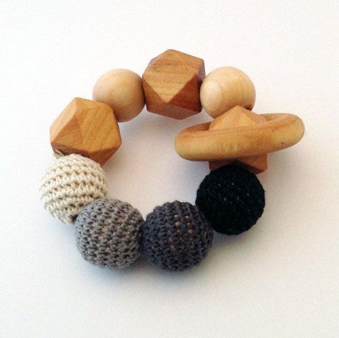 Crochet and Wood Teething Ring