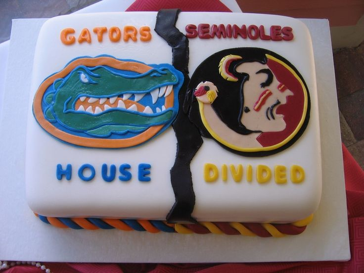 This was a grooms cake, Gators vs Seminoles all done in fondant.