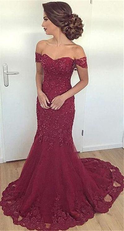 9ddf13b799d Off-the-Shoulder Mermaid Long Glamorous Burgundy Lace Appliques Evening  Dress H0105