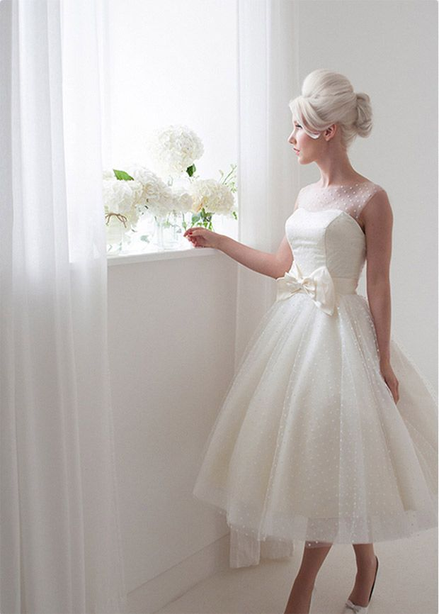 polka dot and bow short wedding dress | House of Mooshki Bridal Collection | www.onefabday.com