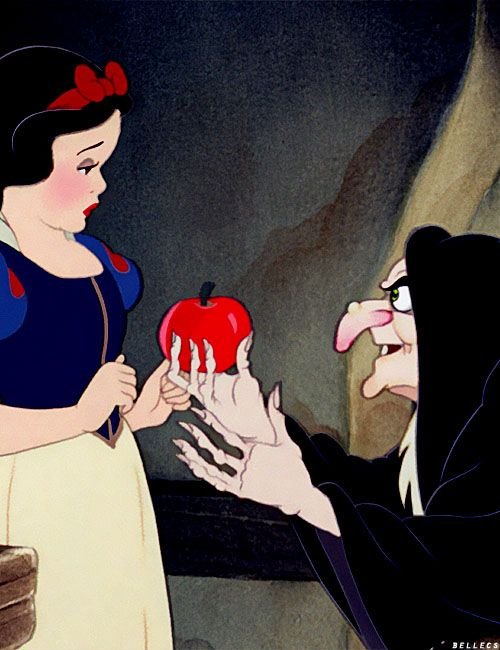 Picture of ORIGINAL TEMPTATION by Satan - Snow White is Pure & Innocent....Evil Witch says eating forbidden fruit will benefit not harm her. This action eventually results in the Fall of Man.  Satan's best day glorified here.