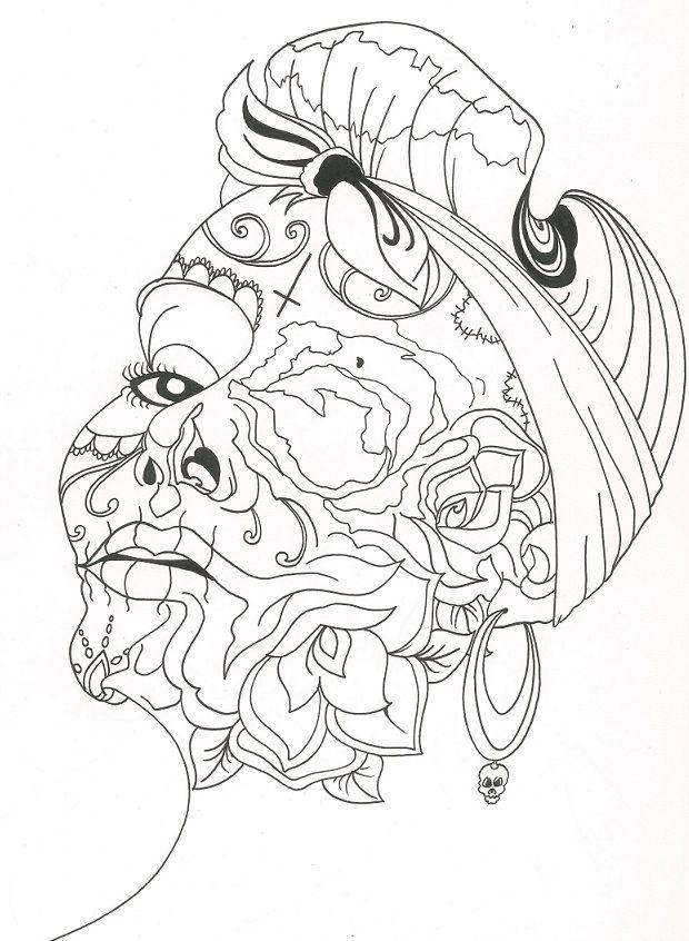 sugar skull coloring pages princess - photo#17