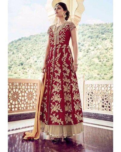 Red Embroidered Floor Length Anarkali