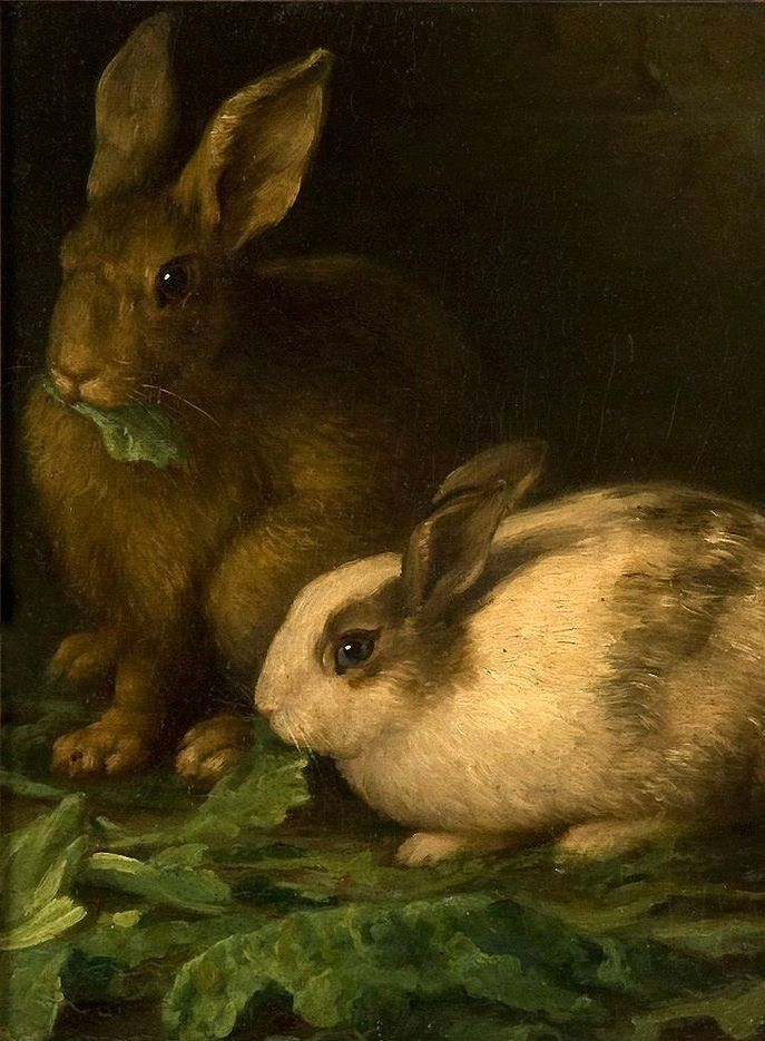 19th C. Oil Painting ~ Rabbits