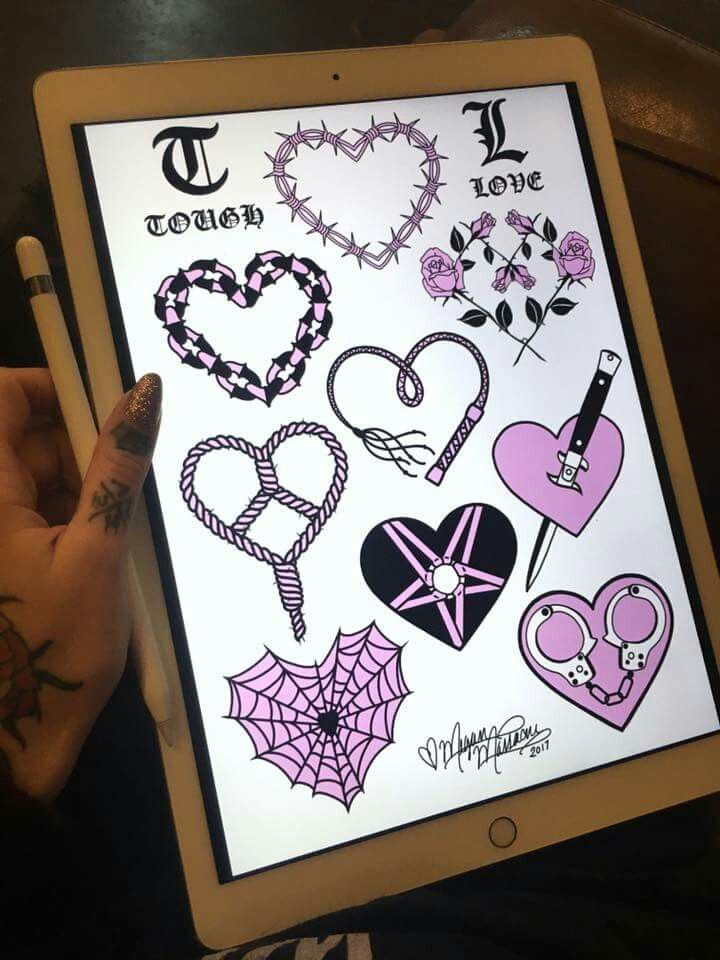 Here it is! My finished Tough Love tattoo flash sheet for Valentines this year These tattoos will be available during our Valentine's walk-in tattoo weekend this Feb. 11th & 12th at Grit N Glory! We will be tattooing from 12pm-8pm, all tattoos $100 from our custom flash sheets, first come, first serve. There will be multiple flash sheets from past years as well as some new additions from our artists that I'll be posting as well! ✨