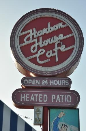 Harbor House Cafe Sign  Sunset beach ca - spent tons on time here!!  Tuna melt on pita:) and my fav waitress Patti
