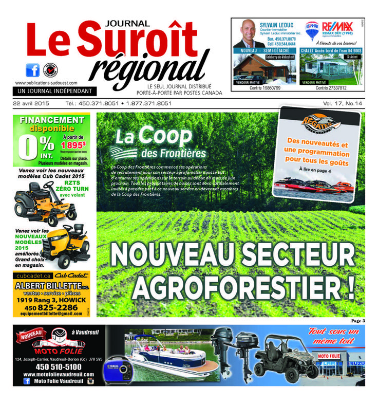 Journal le Suroît parution du 22 avril 2015 http://www.jeanguycote.com