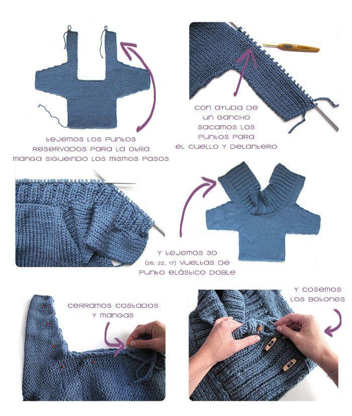Tutorial que muestra el paso a paso para tejer una chaqueta de bebé a dos agujas