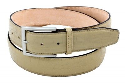 Description  Beautiful beige calfskin men's belt with crocodile print with buckle nickel, product made in Italy.  Product: Men's belt Outer material: Calfskin with crocodile print Inside material: Nubuck Buckle: Satined Nickel Height: 1,57 inch Belt can be shortened