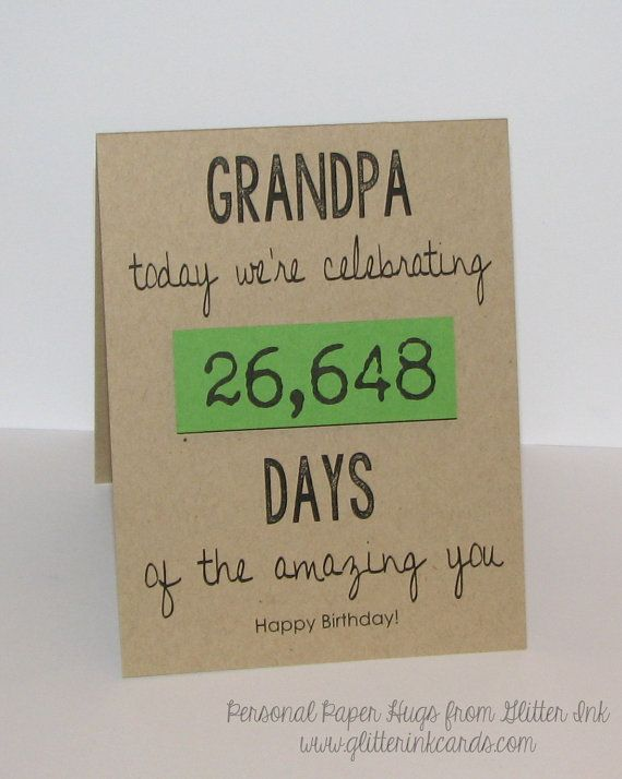Personalized Birthday Card - Celebrating (insert number here) Days of You! - Birthday card for Grandpa