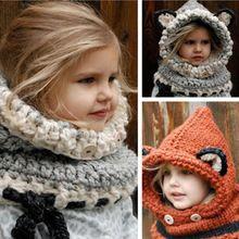 2016 Koreaanse Winter Warm Hals Wrap Vos Sjaal Caps Leuke Kinderen wol Gebreide Baby Hoed Sjaals Hooded Cowl Beanie Caps voor meisjes