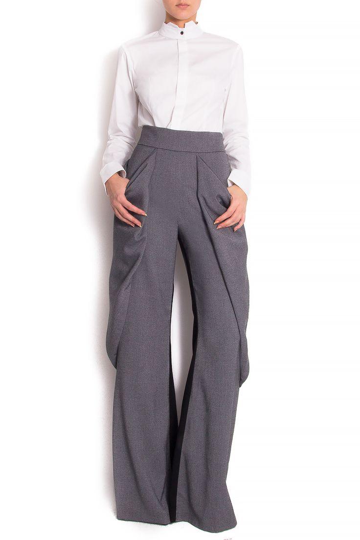 Karmen Herscovici | Pantaloni bicolori din stofa  | WE LOVE COUTURE