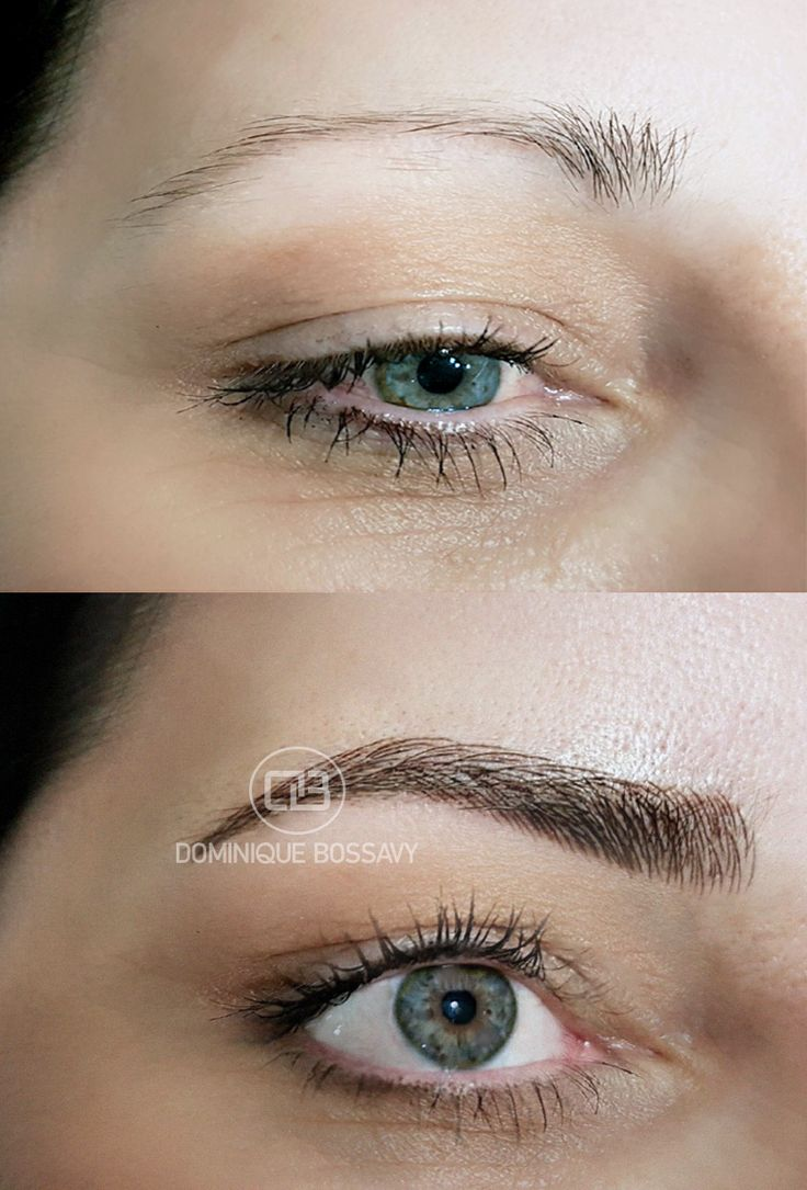 Eyebrows – Before/ After the Micro Color Infusion treatment of Dominique Bossavy, Permanent makeup Artist – Jocelyn Steele