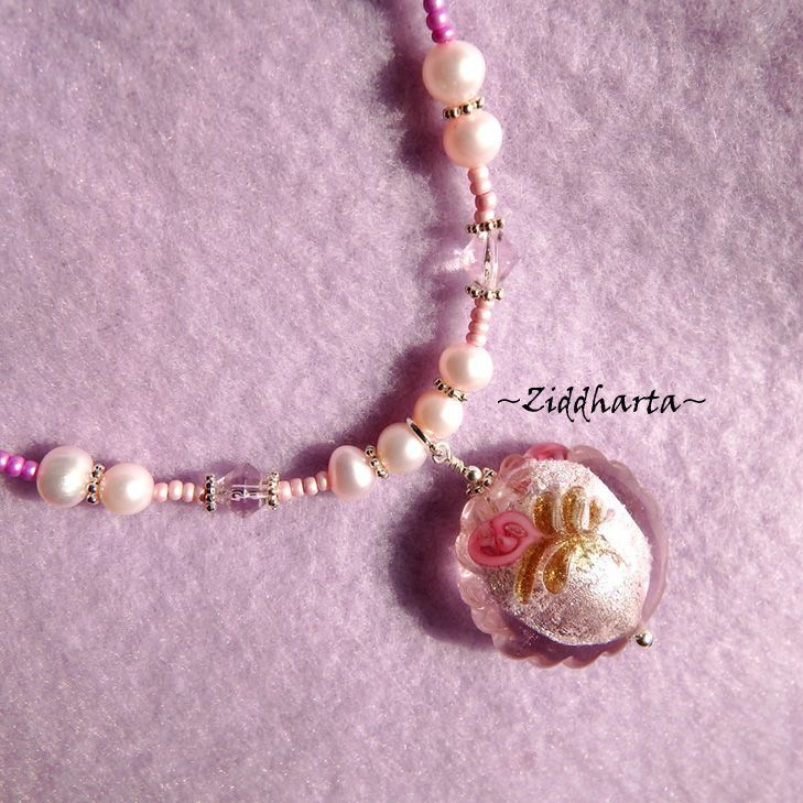 "Necklace ""PinkMagenta Lampwork Goldsand Pendant""  Freshwaterpearls Handmade Jewelry and Beadings by Ziddharta by Ziddharta on Etsy"