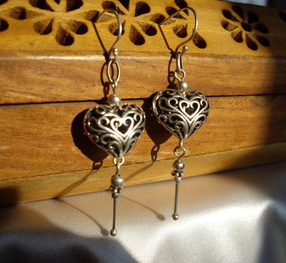 Sterling Silver Lattice Work Heart Earrings by AaronKiddDesign