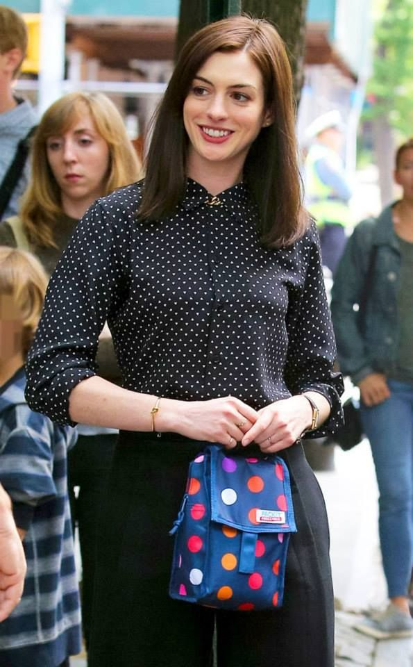 the long hair is back! Anne Hathaway- backstage The Intern
