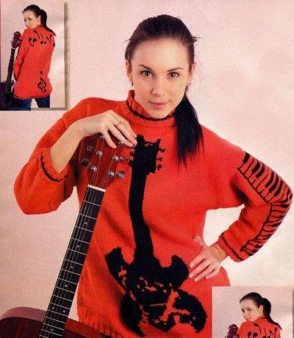 hangszer mintás pulóver kötése